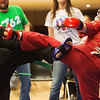 Globe/Roger Nomer<br /> Mackenzie Robinson, 10, St. Charles, left, and Breanna Cannon, 10, Yukon, Okla., compete on Saturday during the Joplin Eye of the Storm Invitational Karate Tournament at Memorial Hall.