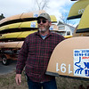 Globe/Roger Nomer<br /> Pat Tinsley poses with canoes at Big Elk Campground on Thursday afternoon.