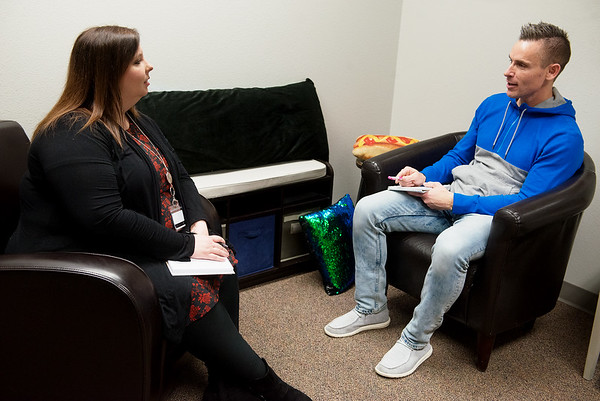 Sarah Hethmon and Travis Bolin, counselors at Carthage Intermediate Center, talk on Friday at the school.<br /> Globe   Roger Nomer