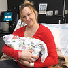 Tiffany Hamiti holds her newborn son, Amir Hamiti on Monday at Freeman Hospital West. Amir was the first baby born at Freeman in 2018 and is the son of Burim Hamiti. He was born weighing six pounds eight ounces at 3:32 a.m. Mother and baby received a goody basket including a baby monitor, toys, blankets and apparel from Freeman Health Systems.<br /> Globe | Laurie Sisk