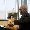 Lyle Foster gives his address during Monday's Martin Luther King Jr. Day breakfast at Missouri Southern.<br /> Globe | Roger Nomer