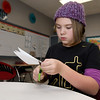 Kelly Kumbier, 10, works on a project during Miranda Hembree's gifted child class on Friday at the Memorial Education Center. The building turns 100 on Sunday.<br /> Globe | Laurie Sisk