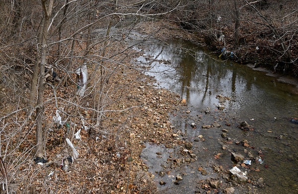 Trash hangs from trees and floats in the waters of Joplin Creek in Dover Park. Blue's Bikes owner Mark Cox is forming a non-profit organization and believes that bikers, walkers and joggers will also  help keep the park clean.<br /> Globe | Laurie Sisk