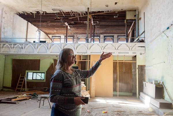 Dianna Gurley, executive director of Souls Harbor, talks about the former Scottish Rite Cathedral space in the upper level of the building.<br /> Globe | Roger Nomer