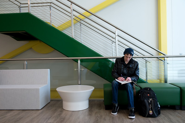 Gannon Purdy, a sophomore math major at Missouri Southern, studies in the new Nixon Hall on campus on Tuesday.<br /> Globe | Roger Nomer