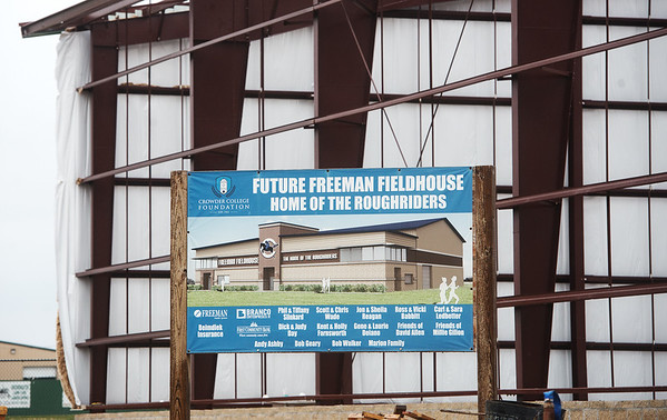 Construction continues on the new Freeman Fieldhouse on the campus of Crowder College in Neosho on Wednesday.<br /> Globe | Roger Nomer