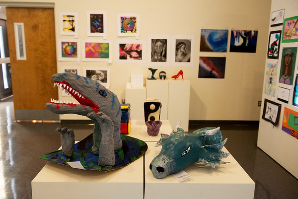 Paper mache sculptures by McDonald County Rocky Comfort students are part of the K-12 Art Show atMissouri Southern State University's Spiva Art Gallery. A reception for the exhibit will be held this Saturday for K-4th grades from 1:00–3:00pm and 5th-12th grades from 3:00–5:00pm.<br /> Globe | Roger Nomer