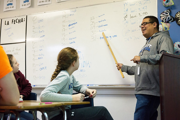 Globe/Roger Nomer<br /> Larry Brooks leads a Spanish class at Carthage Junior High School on Tuesday.