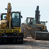 Demoliton continues on the Connecticut Street bridge over I-44 on Wednesday morning.<br /> Globe | Roger Nomer