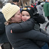 Amanda Nunnally gives a kiss to her Chilly Fun Run finisher and son Ryker, 2, Bentonville, Ark., on Tuesday at Joplin Memorial Hall.<br /> Globe | Roger Nomer