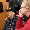 Haily Nimmo, an East Newton High sophomore, listens to veterans like Charles Moss during a visit to the Missouri Veterans Home in Mt. Vernon on Wednesday.<br /> Globe | Roger Nomer