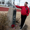 Lamar Superintendent Zach Harris talks about the Vietnam Memorial located at Lamar High School during an interview on Friday.<br /> Globe | Roger Nomer