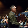 Globe/Roger Nomer<br /> Kris Bex, president of the Remnant Trust, talks to Thomas Jefferson students on Wednesday.