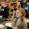 Helayna Copenharve, fourth grade, listens during math class at Cecil Floyd on Thursday.<br /> Globe | Roger Nomer