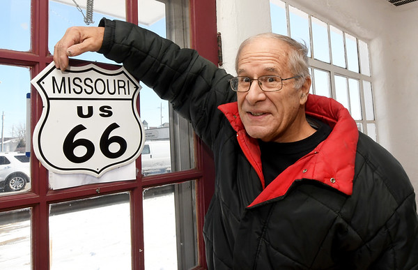 The Route 66 Chamber of Commerce Director and founder, Rod Harsh, stands in the lobby of Boots Court in Carthage on Thursday.<br /> Globe | Laurie Sisk