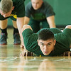 Nathaniel Laughlin, a Missouri Southern sophomore from Stark City, does a round of push ups during the PT with the Missouri National Guard event at the Billingsly Student Center. MSSU students with the Show Me Gold program participated in the event on Saturday morning.<br /> Globe | Roger Nomer