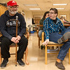 Globe/Roger Nomer<br /> Veteran Richard Rubino and Alex Aerhart, an East Newton High freshman, share a laugh during a visit to the Missouri Veterans Home in Mt. Vernon on Wednesday.<br /> Globe | Roger Nomer
