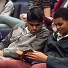Globe/Roger Nomer<br /> Thomas Jefferson freshmen Dhruv Gheewala, left, and Matthew Dohman look at a Federalist Papers book on Wednesday.