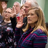 Debi Koelkebeck is sworn in as a CASA volunteer on Wednesday at the Jasper County Courthouse in Joplin.<br /> Globe | Roger Nomer