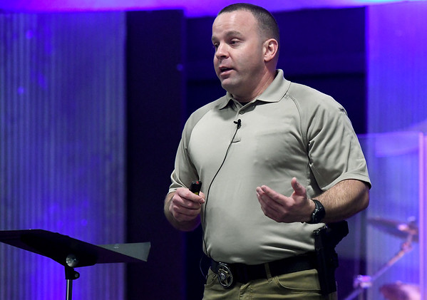 Jasper County Sheriff's Deputy Mike Shuster shares his insights on church security during an informational program on Tuesday night at First Christian Church's Lighthouse in Carthage.<br /> Globe | Laurie Sisk