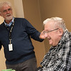 Veteran Bob Stallcup shares his story with Doug Gripka and his East Newton students during a visit to the Missouri Veterans Home in Mt. Vernon on Wednesday.<br /> Globe | Roger Nomer