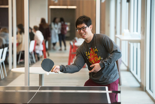 Globe/Roger Nomer<br /> Sam Ding, Dallas, plays a game of ping pong on Thursday at Kansas City University of Medicine and Biosciences Joplin.