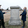 Jill Sulivan and Chris Ferguson talk about the history of Fairview Cemetery and an unique Woodman tombstone on Wednesday afternoon.<br /> Globe | Roger Nomer
