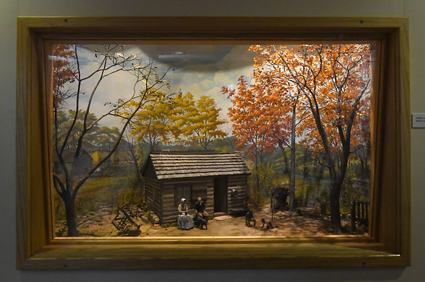 An exhibit at George Washington Carver National Monument depicts a scale of the Carver home around 1870. <br /> Globe | Laurie Sisk