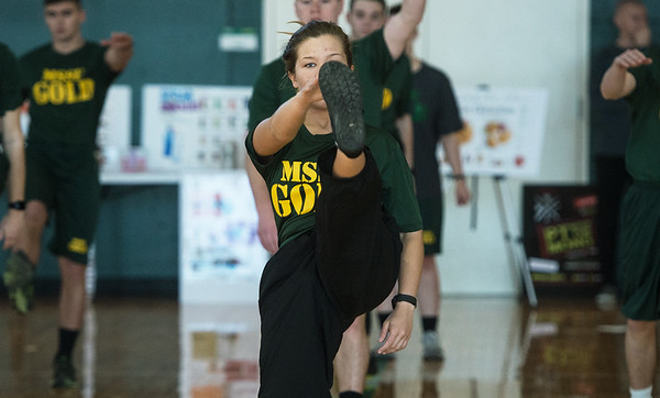 Brooke Baldwin, a Missouri Southern freshman from Exeter, warms up during the PT with the Missouri National Guard event on Saturday at Billingsly Student Center.<br /> Globe | Roger Nomer