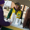 Brenda Beasley, academic affairs project manager at Missouri Southern, right, talks with Ashley Valenzuela, former MSSU student, as they wait to welcome students back to the University on Tuesday. MSSU staff set up welcome points on campus to serve hot drinks and information to students.<br /> Globe | Roger Nomer