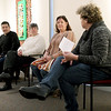 From the left: Native American artists Tony Tiger, America Meredith and Christina Burch talk with the Spiva Center for the Arts Executive Director Josie Mai during a Native American Art panel discussion on Saturday at the Spiva Center for the Arts.<br /> Globe | Laurie Sisk