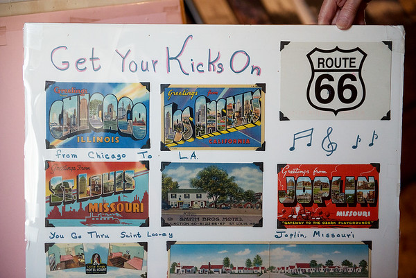 """Charlyn Hubbard has collected postcards from every city mentioned in """"(Get Your Kicks on) Route 66.""""<br /> Globe 