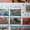 "Charlyn Hubbard has collected postcards from every city mentioned in ""(Get Your Kicks on) Route 66.""<br /> Globe 