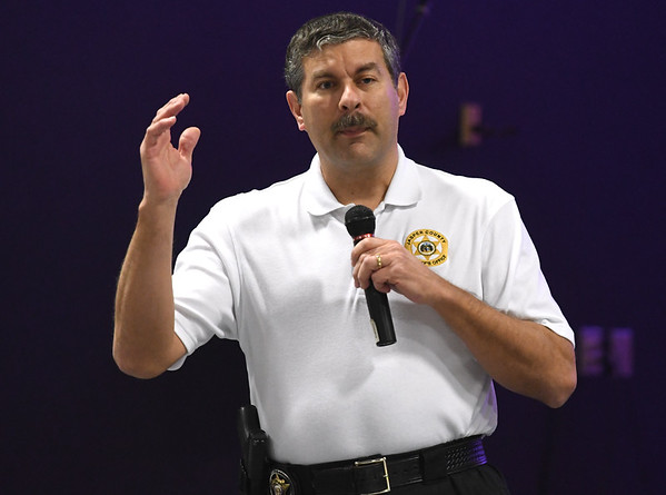 Jasper County Sheriff Randy Kaiser opens an informational program on church security on Tuesday night at First Christian Church's Lighthouse in Carthage.<br /> Globe | Laurie Sisk