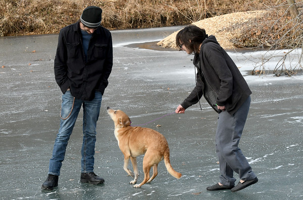 """Ash Logan, left and Haley Matlin play with """"Dre"""" on thick ice on a shallow section of Shoal Creek near Grand Falls on Friday afternoon.<br /> Globe   Laurie Sisk"""
