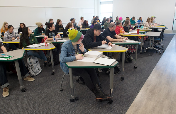Students work during class in Calculus I in the new Nixon Hall on Tuesday at Missouri Southern.<br /> Globe | Roger Nomer