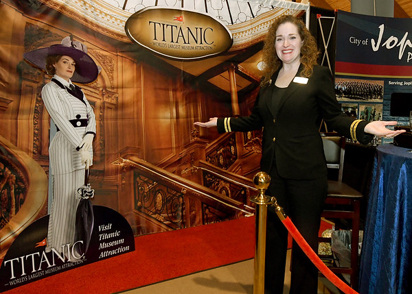 Randi Shetley welcomes guests to explore Branson's Titanic Museum experience on Tuesday during the 26th Annual Joplin Area Chamber of Commerce Business EXPO at Downstream Casino.<br /> Globe | Laurie Sisk