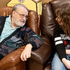 Veteran John Schatz talks with Morgan McCracken, an East Newton High junior, during a visit to the Missouri Veterans Home in Mt. Vernon on Wednesday.<br /> Globe | Roger Nomer