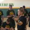 Globe/Roger Nomer<br /> Lt. Megan Webb, fitness improvement director with the Missouri National Guard, talks about the importance of making healthy diet choices during a workout at Billingsly Student Center on Saturday.<br /> Globe | Roger Nomer