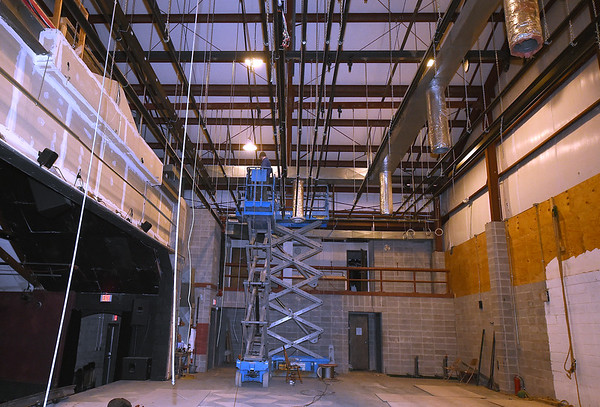 Workers from  A to Z Theatricalinstall galvanized aircraft cable for a new fly system at Joplin Little Theatre on Friday. The work is part of a modernization of the theatre and allows more options for the technical side of productions at the theater.<br /> Globe | Laurie Sisk