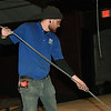 Cody Washburn, of A to Z Theatrical, prepares galvanized aircraft cable for installation of a new fly system at Joplin Little Theatre on Friday. The work is part of a modernization of the theatre and allows more options for the technical side of productions at the theater.<br /> Globe   Laurie Sisk