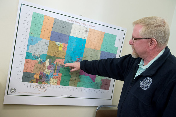 Charlie Davis, Jasper County clerk, talks about voting precincts on Monday at the Jasper County Courthouse in Carthage.<br /> Globe | Roger Nomer