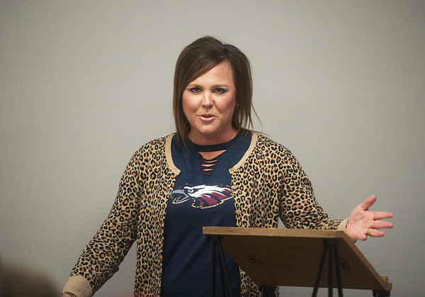 """Kelli Perigo, co-chair of the """"Vote Yes: Our Kids, Our Community"""" campaign, talks about the need for a new elementary school during a press conference on Tuesday at the Joplin Area Chamber of Commerce.<br /> Globe 