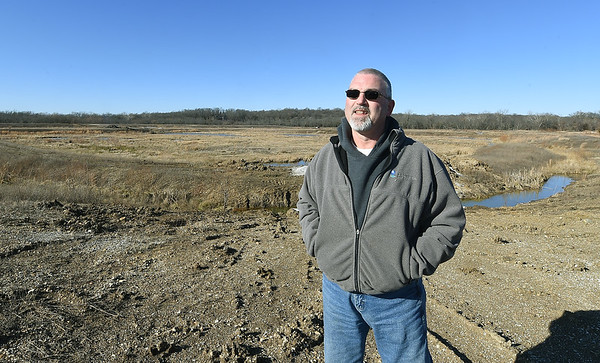 William Runkle, wastewater director, talks about an area being developed as a wetlands inside the Center Creek Wastewater Treatment Plant in Webb City on Tuesday.<br /> Globe | Laurie Sisk