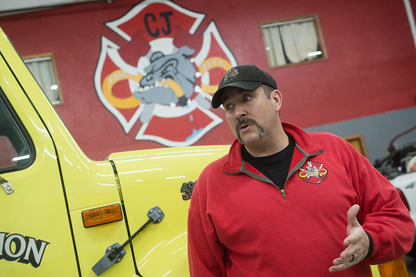Carl Junction Fire Chief Joe Perkins talks about potential cuts the department may have to make without approval of a tax during an interview on Wednesday at the Carl Junction Fire Department.<br /> Globe | Roger Nomer