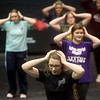 "Chelsie Jeffries, a Missouri Southern senior from Webb City, practices choreography for ""Mama Mia"" on Friday at the Bud Walton Black Box Theatre. <br /> Globe 