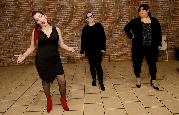 """From the left: Stephanie Allin-Jackson, Kaitlin Morrill and Alise Richins rehearse their roles for the 124 Studios production of """"The Vagina Monolgues.""""<br /> Globe 