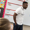 Tylan Harris addresses his fifth-grade classroom at Jefferson Elementary on Thursday.<br /> Globe | Roger Nomer