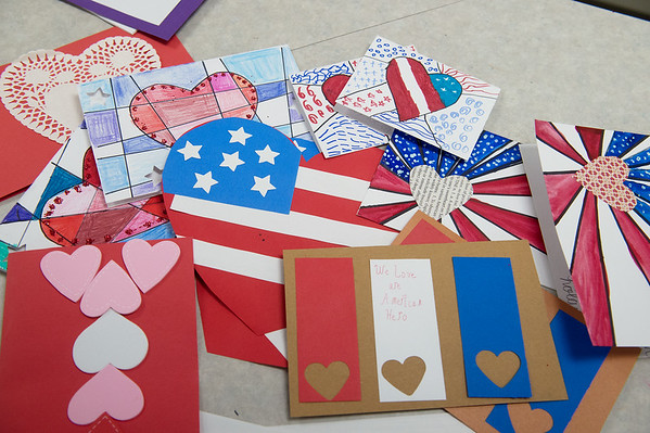 For Catholic Schools Week, students at St. Mary's Elementary created Valentine cards for veterans.<br /> Globe   Roger Nomer