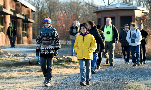 Hikers begin their First Day Hike on New Year's Day at the Shoal Creek Conservation and Education Center.<br /> Globe | Laurie Sisk